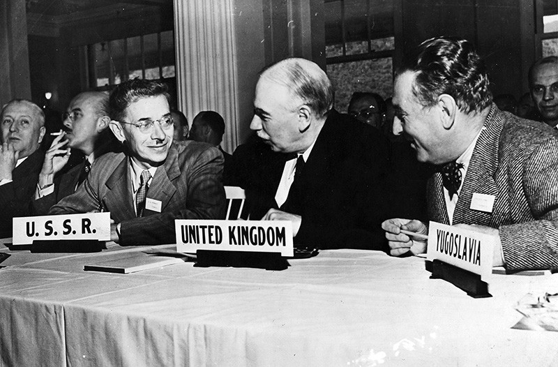 English economist John Maynard Keynes attends the United Nations International Monetary and Financial Conference, 1944