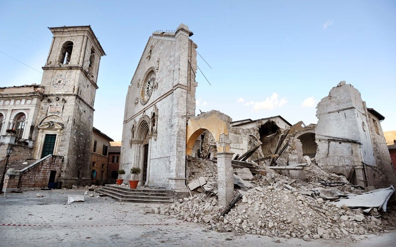 Earthquake damage in Norcia, central Italy, on 31st October 2016.