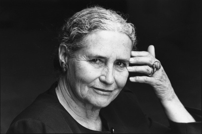 Black and white photofraph of Doris Lessing from the shoulders up.