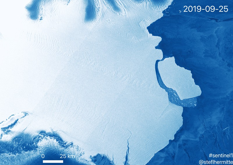 Sentinel-1 image of D-28 iceberg near Amery ice shelf, Antarctica