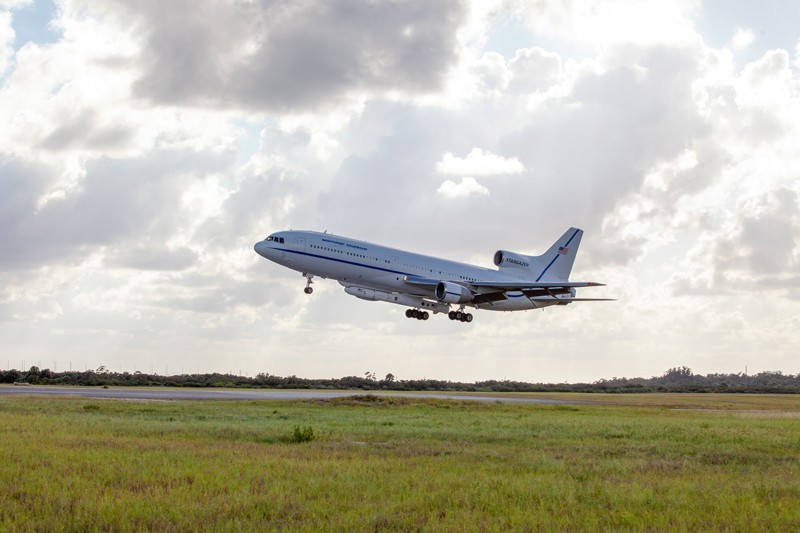 Northrop Grumman's L-1011 Stargazer aircraft descends toward the Skid Strip at Cape Canaveral Air Force Station, Florida
