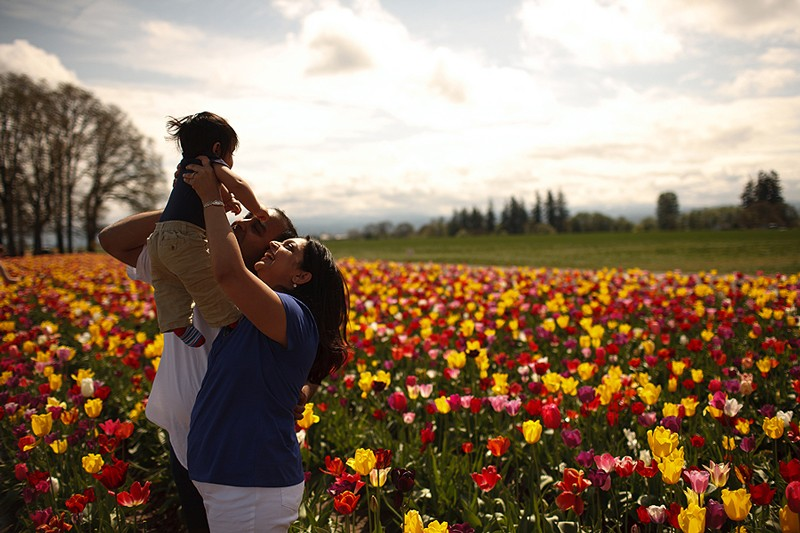 The Kaushik family at the Wooden Shoe Tulip Festival in Woodburn, Oregon.