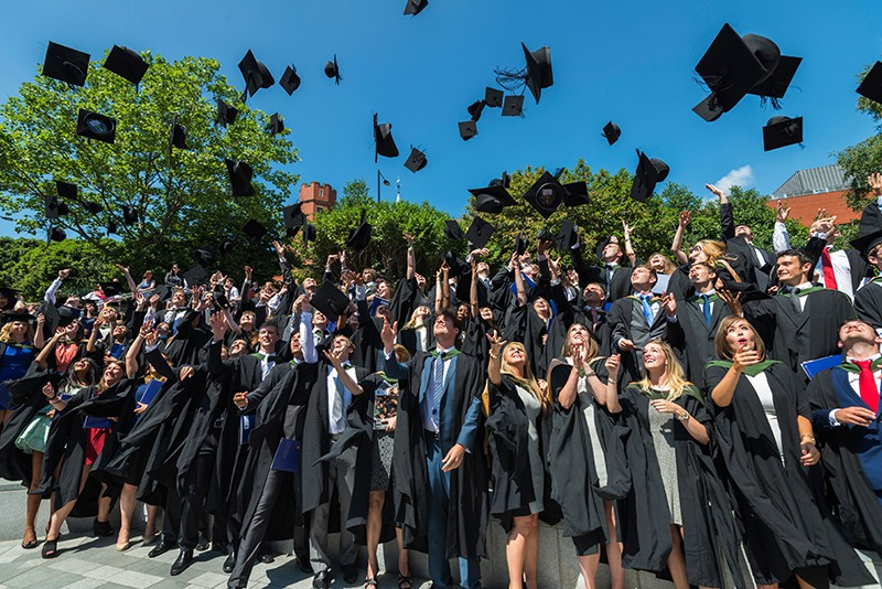 University of Sheffield students toss their graduation caps in the air