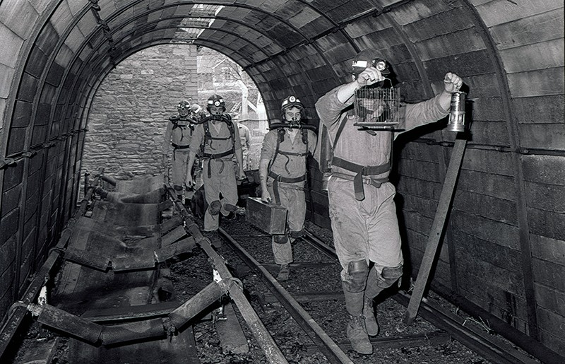 Miners at the rescue station at Crumlin, South Wales coalfield in 1983