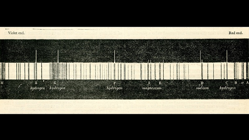Norman Lockyer's figure of a solar spectrum, published in the first issue of Nature.