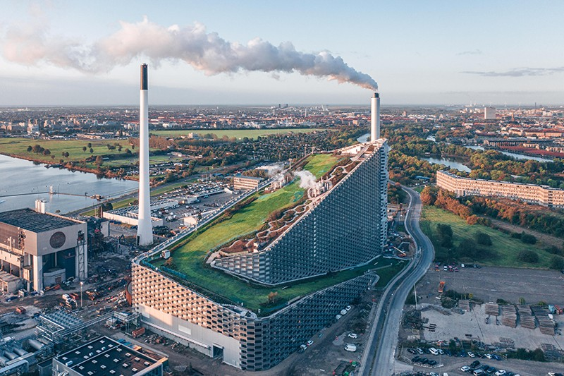 CopenHill is a combined heat and power waste-to-energy plant in Copenhagen, Denmark with recreational areas