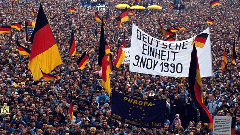 Election rally crowd in Leipzig, Germany In March, 1990