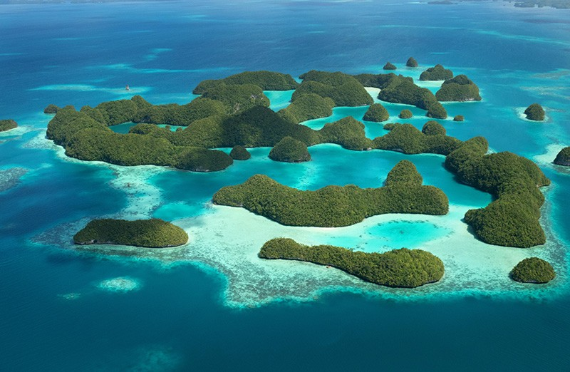 Aerial view of the Rock Islands, Palau, Micronesia, Oceania, Pacific Ocean