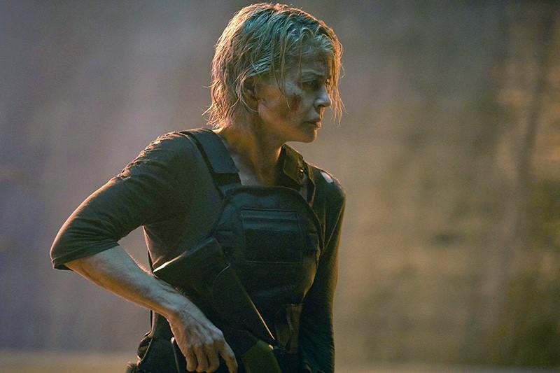Linda Hamilton in a movie still of Terminator: Dark Fate, 2019